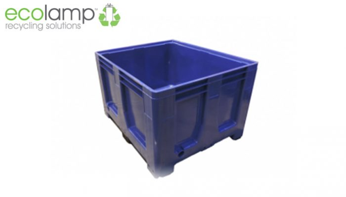 La1309 solid rigid pallet box moulded food grade hdpe recycling weee waste blue