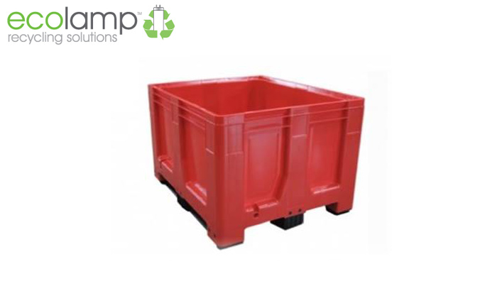 La1309 solid rigid pallet box moulded food grade hdpe recycling weee waste red