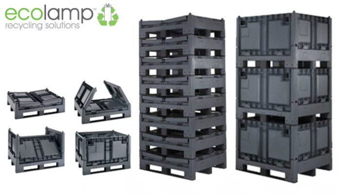 New Magnum Folding Plastic Pallet Box, WEEE waste recycling lamps, storage solutions buy online Ecolamp Recycling of Warrington, Cheshire UK