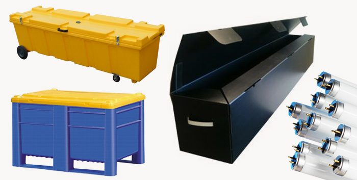 WEEE waste storage solutions fluorescent lamp coffins storage tube recycling collection sunbeds